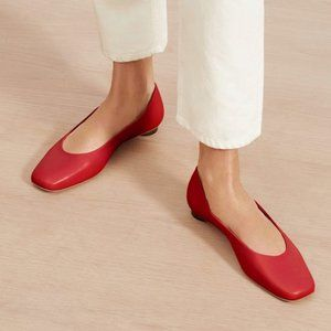 Everlane Red The '90s Flat Square Toe 7.5